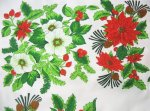 Poinsettias Holly Apple Blossoms Tablecloth