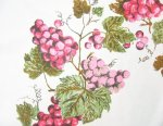 Vintage Linen Tablecloth Pink Grapes
