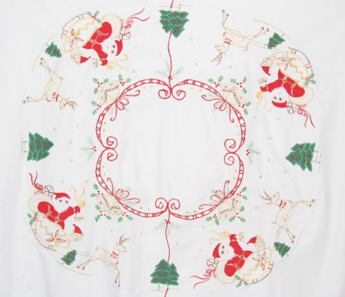 Vintage Christmas Santa Sleigh Applique Tablecloth