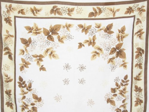 Vintage Fall Maple Leaves Linen Tablecloth