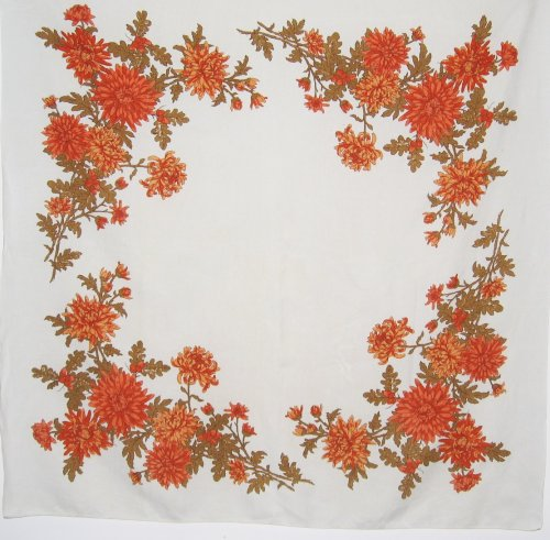 Vintage Linen Tablecloth Chrysanthemums Fall Flowers