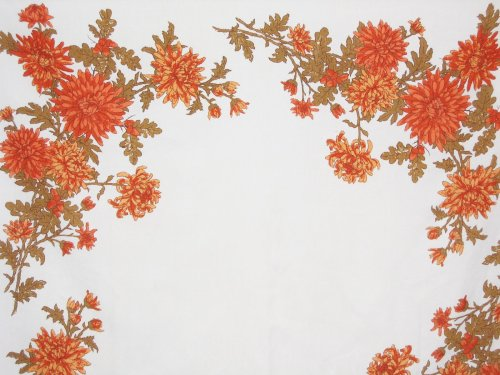 Linen Tablecloth Chrysanthemums Fall Flowers
