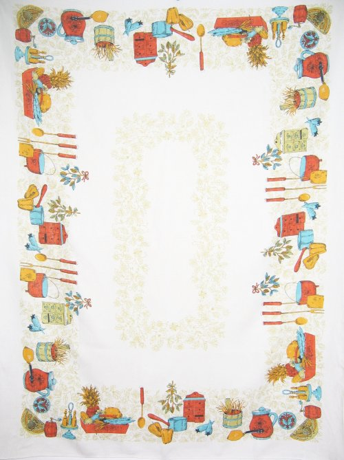 Vintage Linen Tablecloth Kitchen Spices Crocks