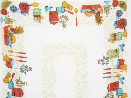 Linen Tablecloth Kitchen Spices Crocks