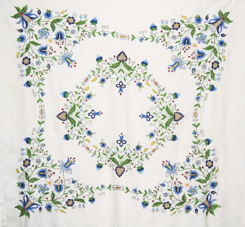 Embroidered Folk Art Scandinavian Linen Tablecloth