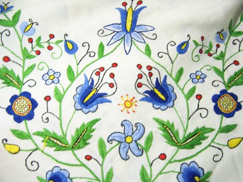 Vintage Embroidered Folk Art Tablecloth