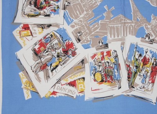 Paris Postcards depicted on Tablecloth