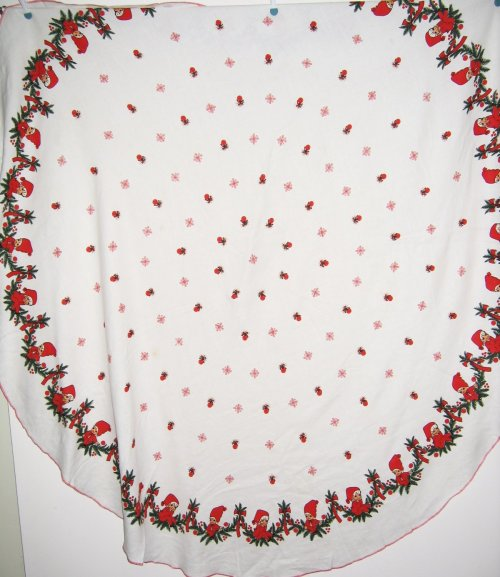 Vintage Pixie Elves Christmas Oval Tablecloth