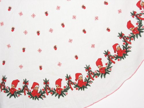 Pixie Elves Border on Vintage Tablecloth