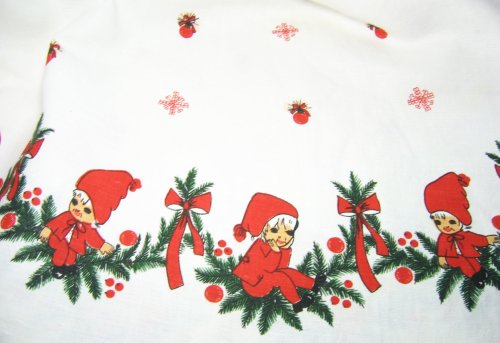 Vintage Elves on Tablecloth
