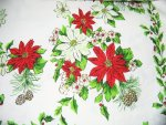 Poinsettia Holly Pine Cones Christmas Tablecloth