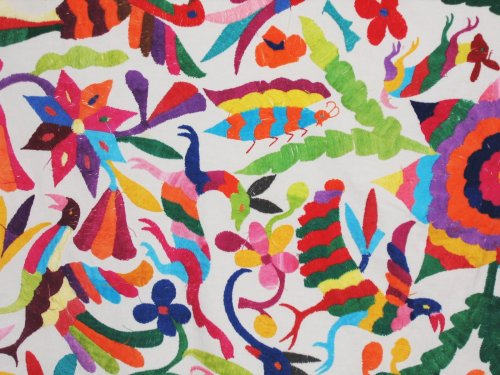 Vintage Mexican Otomi Embroidered Tablecloth