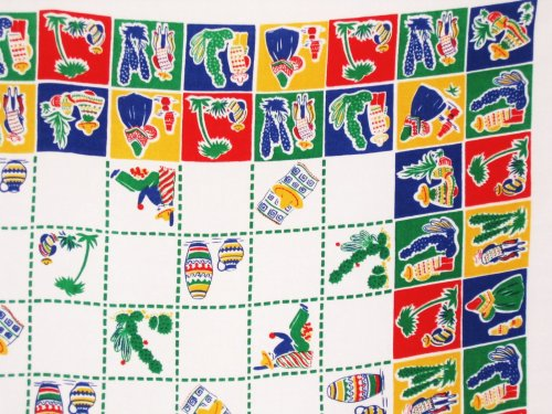 Vintage Mexican Southwestern Tablecloth Primary Colors