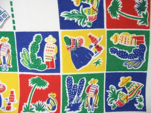 Mexican Figures on Vintage Tablecloth