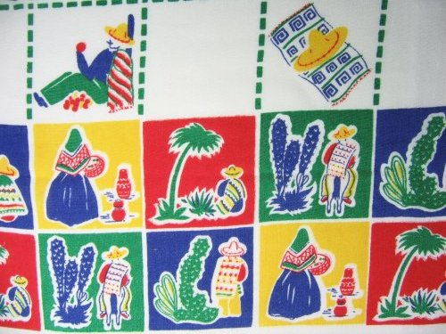 Cactus Mexican Figures on Southwestern Tablecloth