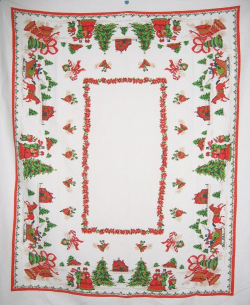 Christmas Tablecloth Faux Needlepoint Carolers Sleigh