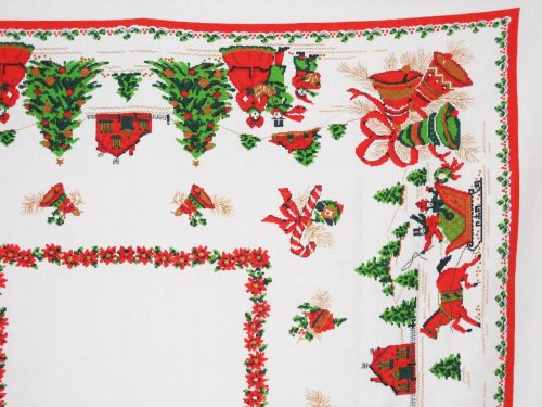 Christmas Tablecloth Faux Needlepoint