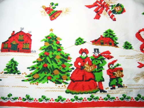 Carolers on Vintage Tablecloth