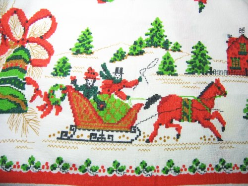 Sleigh on Vintage Tablecloth