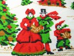 Vintage Tablecloth Faux Needlepoint Carolers