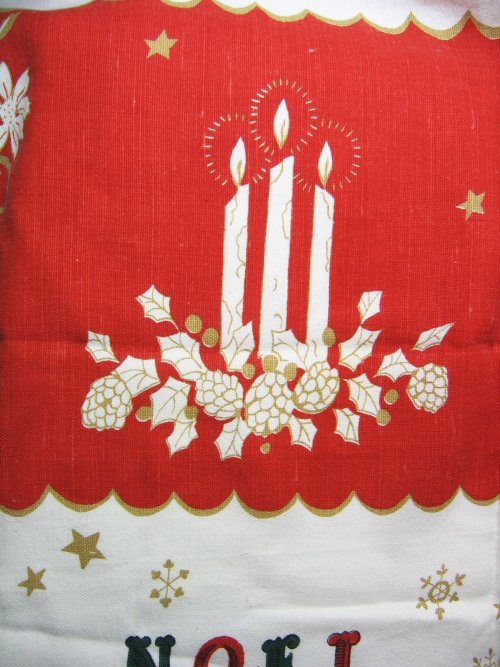 Candles on Vintage Tablecloth