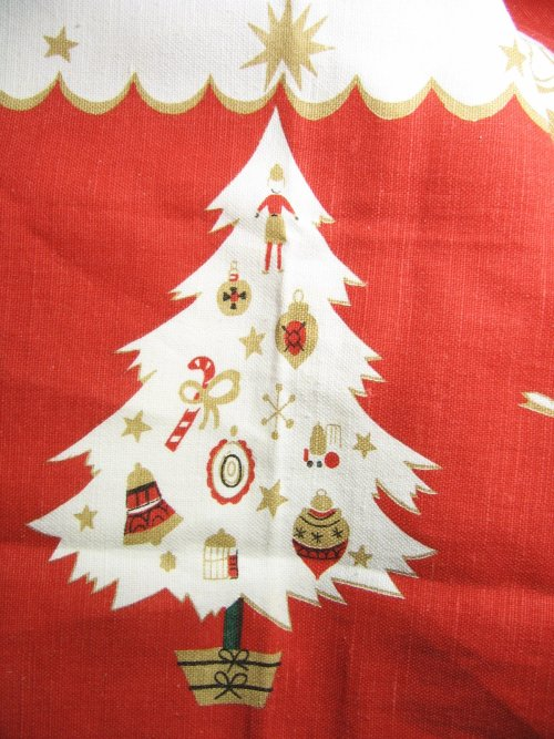 Christmas Tree on Vintage Tablecloth