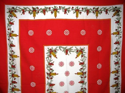 Christmas Tablecloth Candles Angels Holly