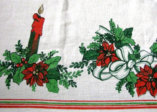 Candles and Holly Christmas Tablecloth