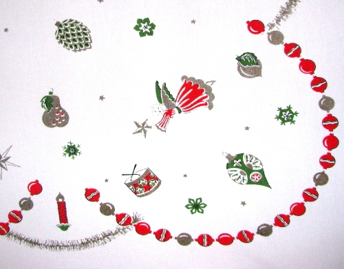 Christmas Decorations on Eames Era Tablecloth
