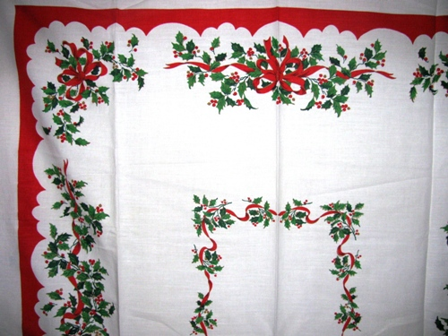 holly ribbon vintage christmas tablecloth