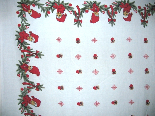 Vintage Pixie Elves Christmas Tablecloth
