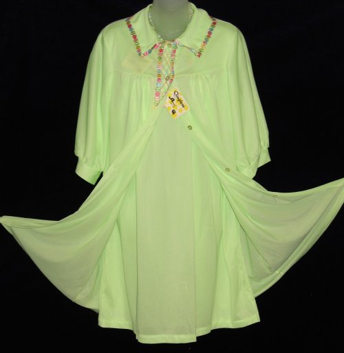 Celanese Lime Green Peignoir Babydoll Set