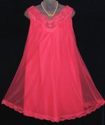 Vintage Vanity Fair Hot Red Pink Peignoir Babydoll