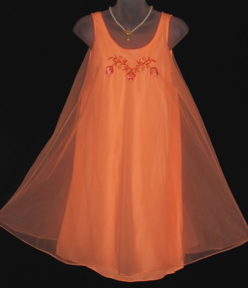 Vintage Tangerine Orange Chiffon Babydoll gl'Amour by Molyclaire
