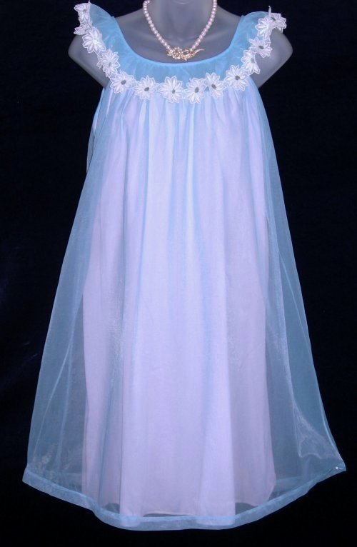Vanity Fair Nightgown Blue Pink Babydoll at Classy Option - Vintage ...