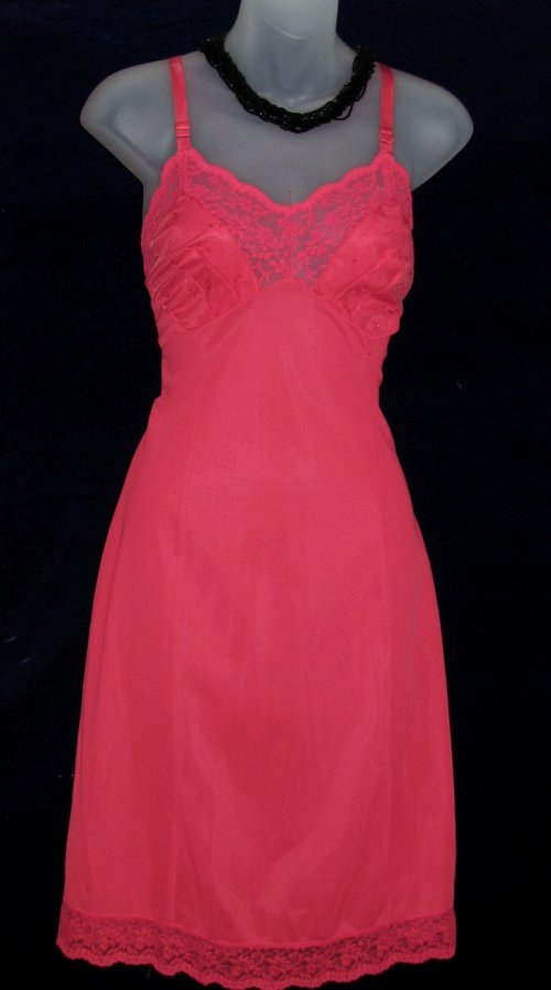 Vintage Vanity Fair Red Chiffon Slip Embroidered