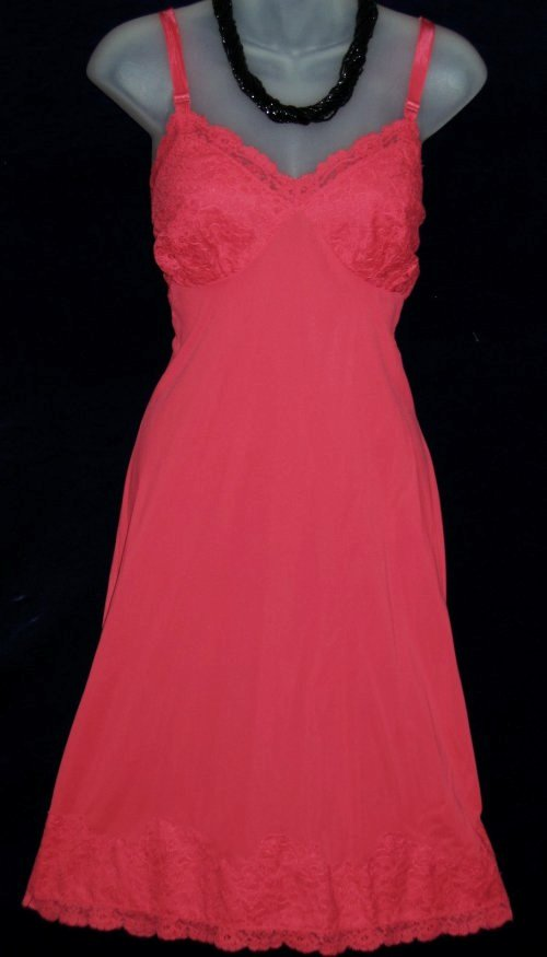 Vintage Vanity Fair Red Lace Nylon Full Slip