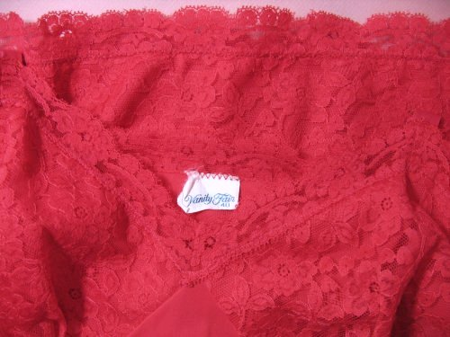 Red Lace on Vintage Vanity Fair Full Slip
