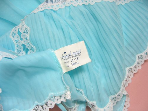 French Maid Label Tag on Crystal Pleats