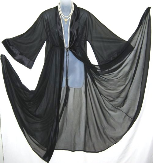 Cahill Sheer Black Chiffon Peignoir