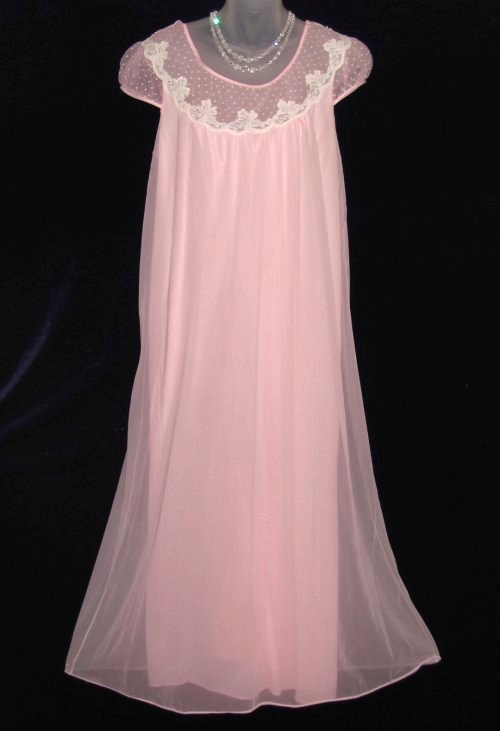 French Maid Pink Chiffon Lace Nightgown at Classy Option - Vintage ...
