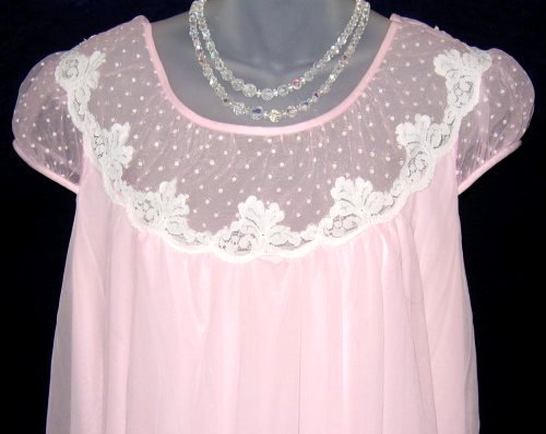 Vintage French Maid Pink Chiffon Lace Nightgown