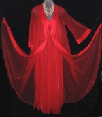 Vintage Red Sheer Chiffon Peignoir Set by Lov'Lee