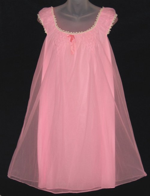 Edward Saykaly Pink Babydoll Nightgown