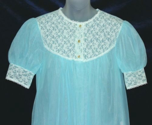 Lacy Peignoir with Puffy Sleeves