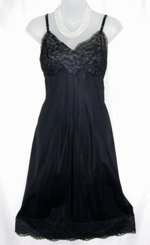 Vanity Fair Black Lace Full Slip