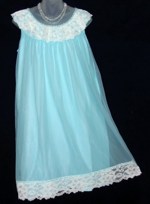 Dorsay Blue Chiffon Babydoll Nightgown