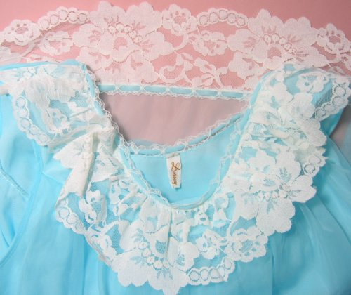 Dorsay Tag Label on Blue Chiffon with White Lace
