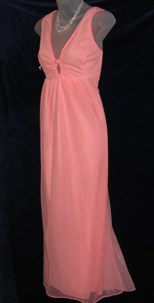 Vintage Chiffon Nylon Peach Nightgown
