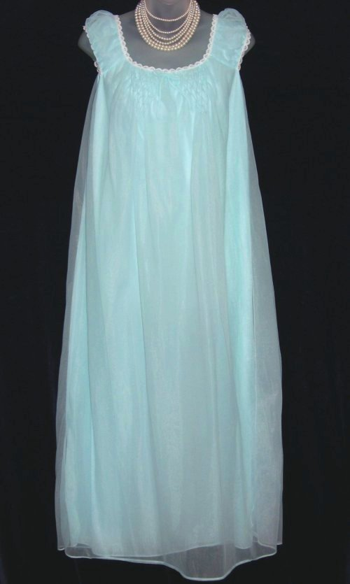 Aqua Blue Chiffon Nightgown Edward Saykaly